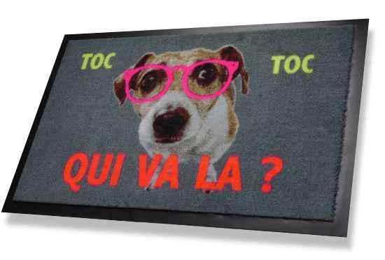 paillasson rigolo chien à lunettes roses toc toc